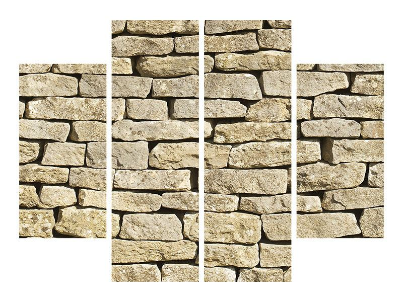 Aluminiumbild 4-teilig Alte Mauer