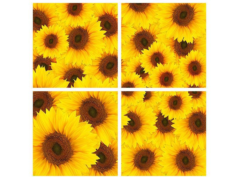 Aluminiumbild 4-teilig Ein Strauss Sonnenblumen