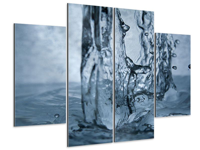 Aluminiumbild 4-teilig Wasserdynamik