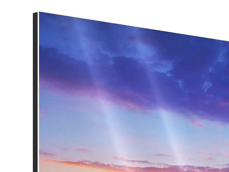 Aluminiumbild 4-teilig Leuchtender Sonnenuntergang