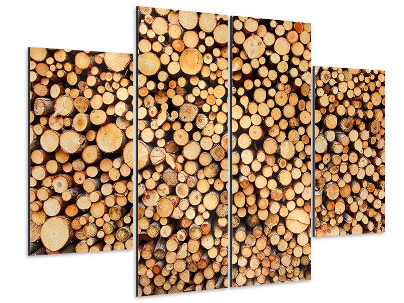 Aluminiumbild 4-teilig Holzstämme