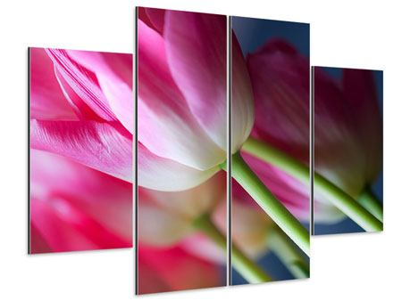 Aluminiumbild 4-teilig Makro Tulpen