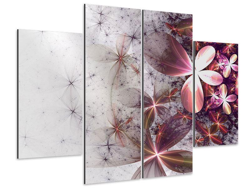 Aluminiumbild 4-teilig Abstrakte Blumen