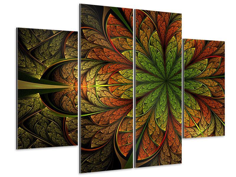 Aluminiumbild 4-teilig Abstraktes Blumenmuster