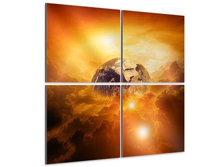 Aluminiumbild 4-teilig Mystischer Planet Erde