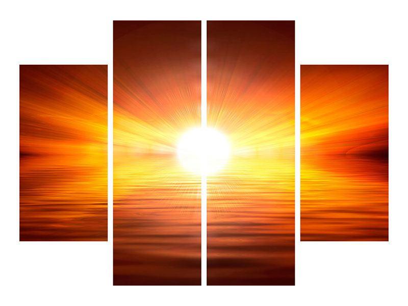 Aluminiumbild 4-teilig Glühender Sonnenuntergang