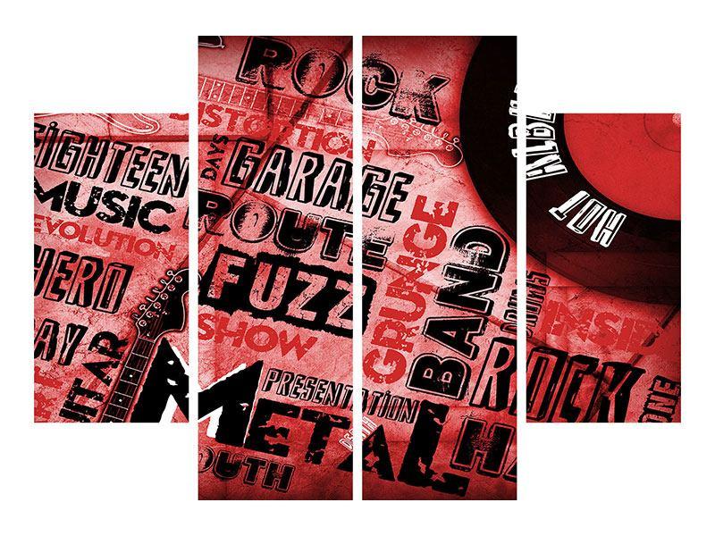 Aluminiumbild 4-teilig Writings Music Grunge