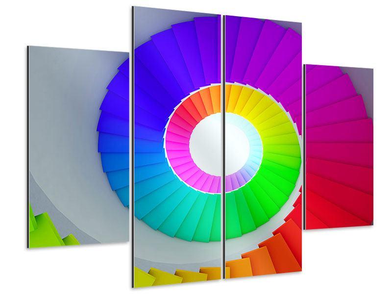 Aluminiumbild 4-teilig Bunte Wendeltreppe 3D