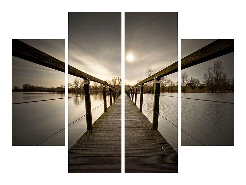 Aluminiumbild 4-teilig Die Holzbrücke