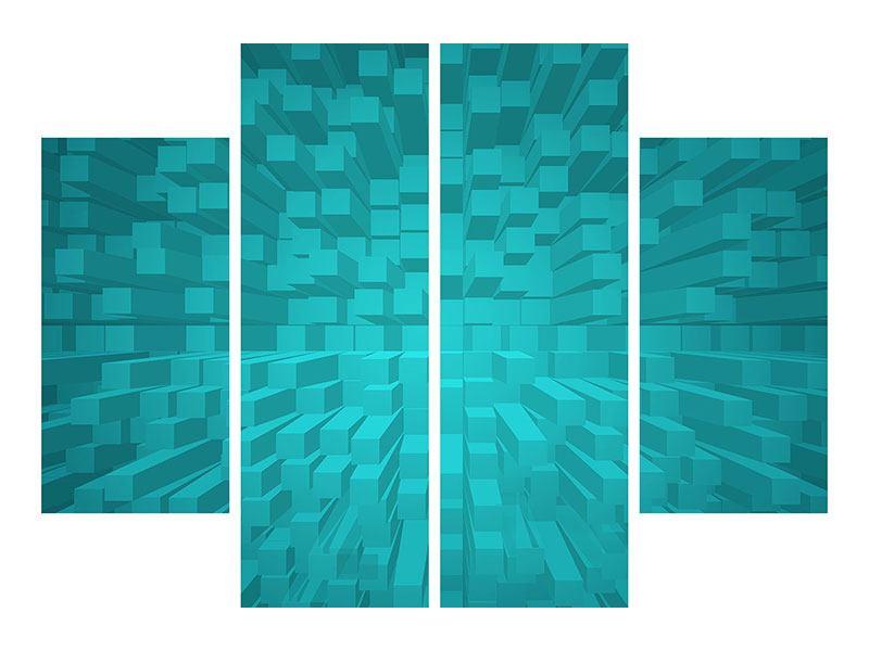 Aluminiumbild 4-teilig 3D-Kubusse