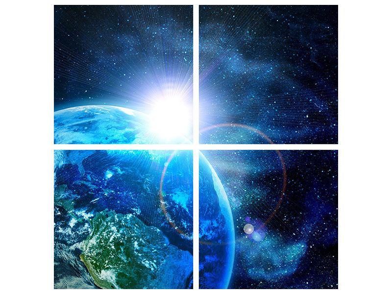 Aluminiumbild 4-teilig Galaxien