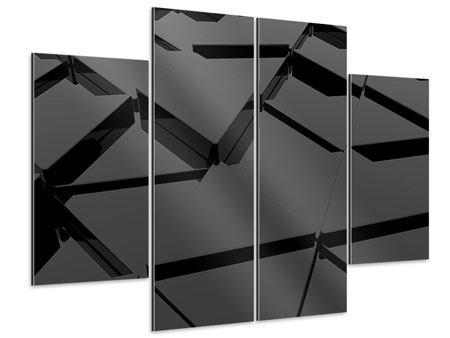 Aluminiumbild 4-teilig 3D-Dreiecksflächen