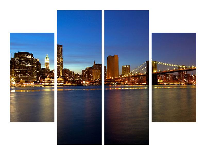 Aluminiumbild 4-teilig Skyline Manhattan im Lichtermeer