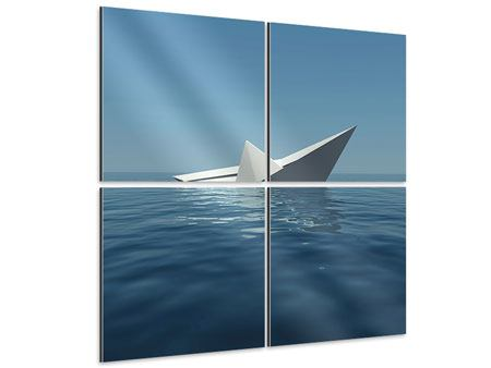 Aluminiumbild 4-teilig Papierschiffchen