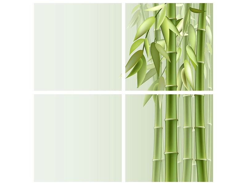 Aluminiumbild 4-teilig Bambuswall