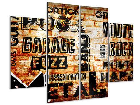 Aluminiumbild 4-teilig Rock im Grungestil