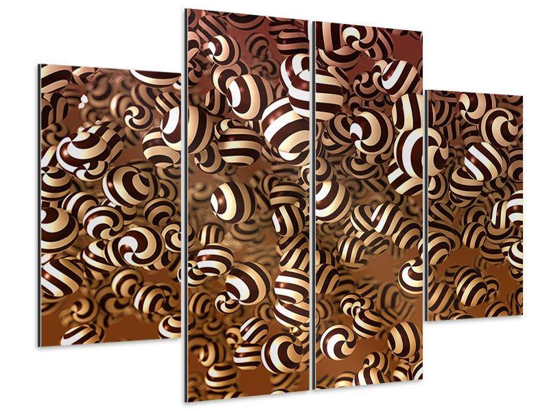 Aluminiumbild 4-teilig Schokoladen-Bonbons