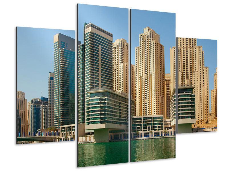 Aluminiumbild 4-teilig Spektakuläre Wolkenkratzer Dubai