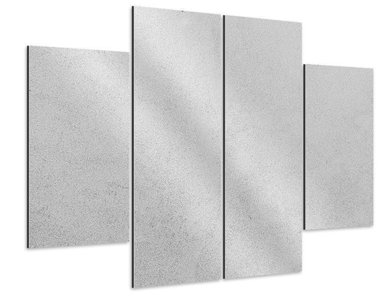 Aluminiumbild 4-teilig Beton in Hellgrau