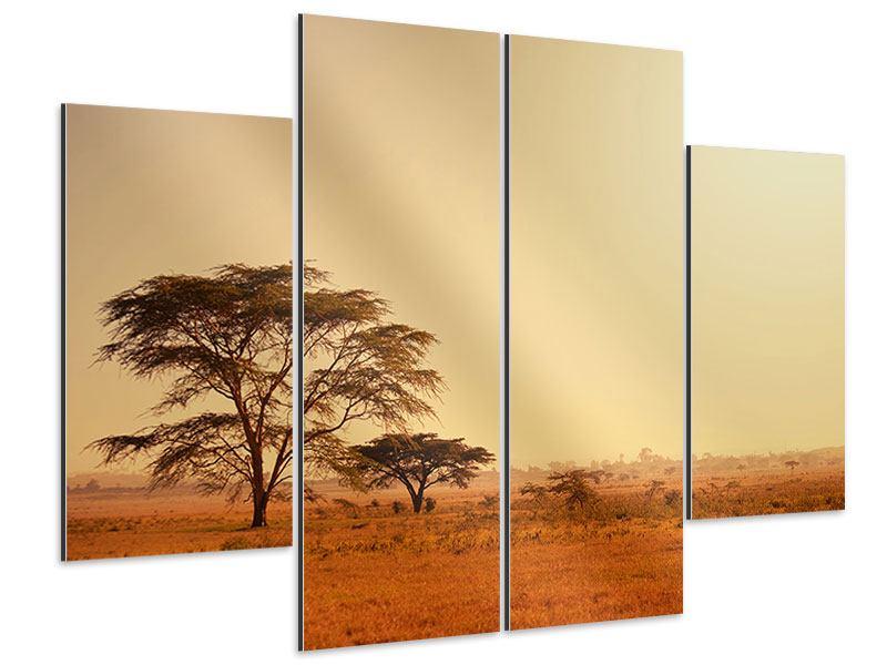 Aluminiumbild 4-teilig Weideland in Kenia