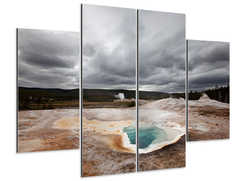 Aluminiumbild 4-teilig Vulkan