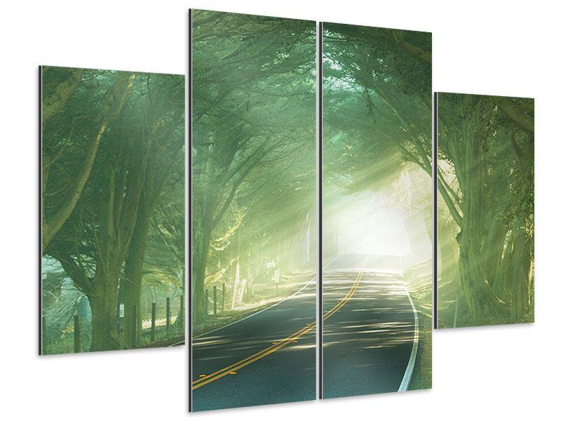 Aluminiumbild 4-teilig Die Allee