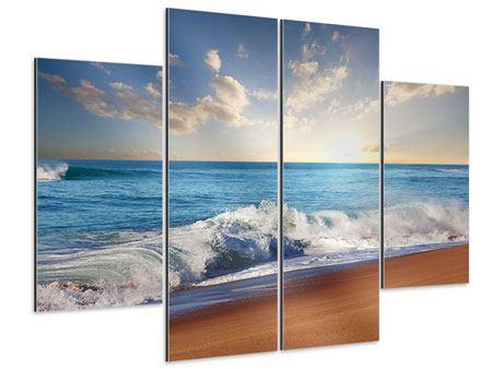 Aluminiumbild 4-teilig Die Wellen des Meeres