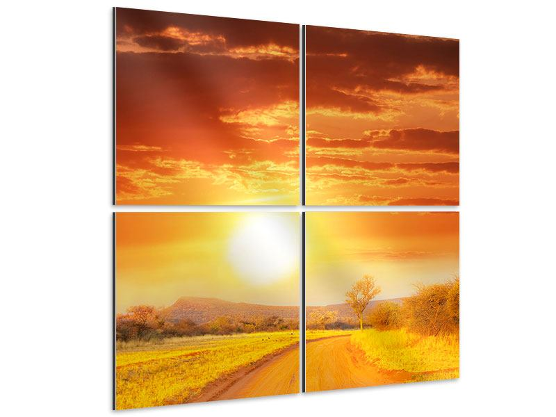 Aluminiumbild 4-teilig Sonnenuntergang in der Savanne