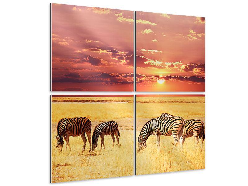 Aluminiumbild 4-teilig Zebras in der Savanne