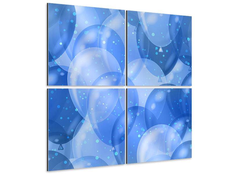 Aluminiumbild 4-teilig Blaue Ballons