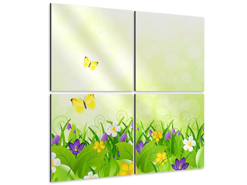 Aluminiumbild 4-teilig Lustige Schmetterlinge