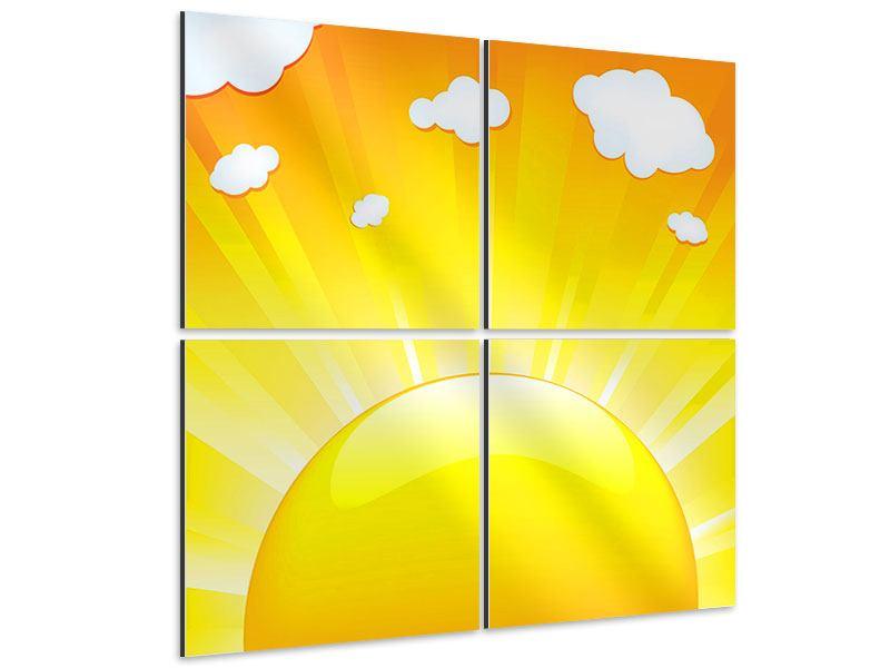 Aluminiumbild 4-teilig Die Sonne geht auf