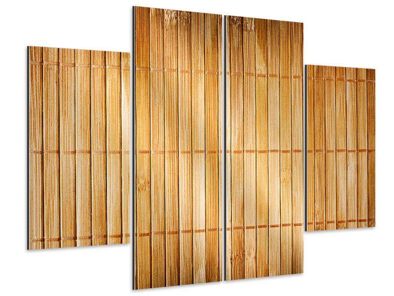 Aluminiumbild 4-teilig Bambusrohre
