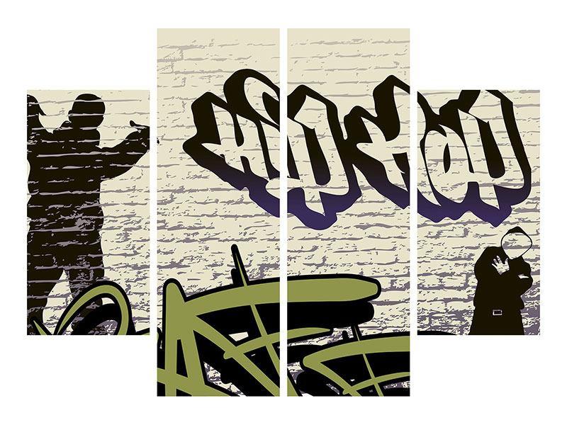 Aluminiumbild 4-teilig Graffiti Hip Hop