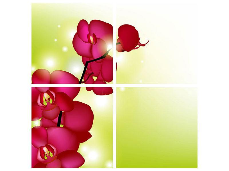 Aluminiumbild 4-teilig Heiligtum der Orchidee