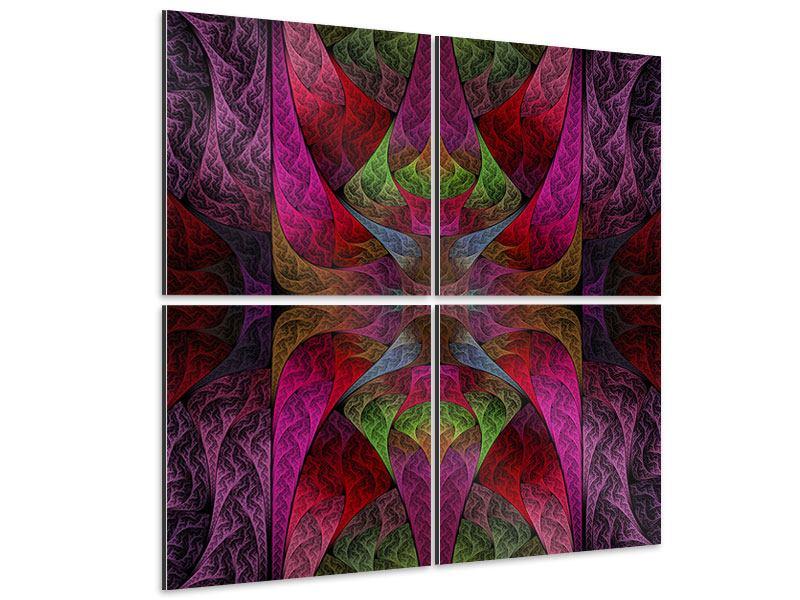 Aluminiumbild 4-teilig Fraktales Muster