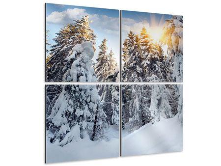 Aluminiumbild 4-teilig Tannen im Schnee