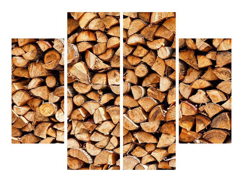 Aluminiumbild 4-teilig Gestapeltes Holz