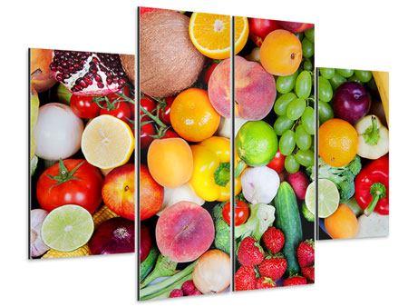 Aluminiumbild 4-teilig Frisches Obst