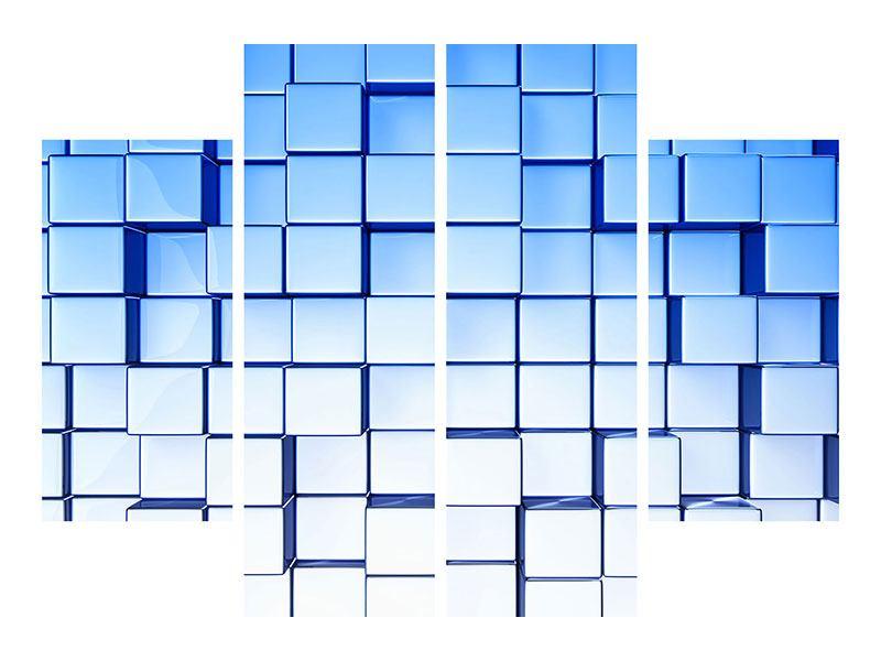 Aluminiumbild 4-teilig 3D-Symetrie
