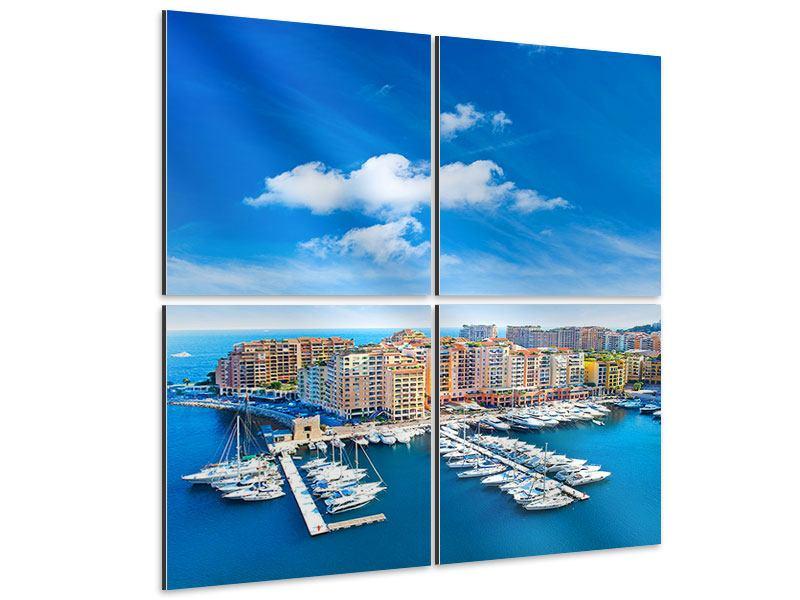 Aluminiumbild 4-teilig Skyline Panoramablick Jachthafen Monaco