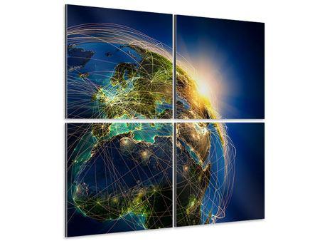 Aluminiumbild 4-teilig Der Planet Erde