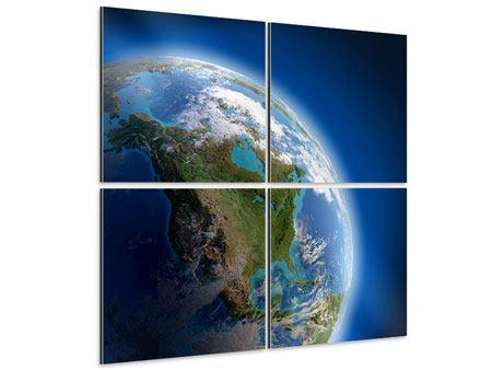 Aluminiumbild 4-teilig Die Erde