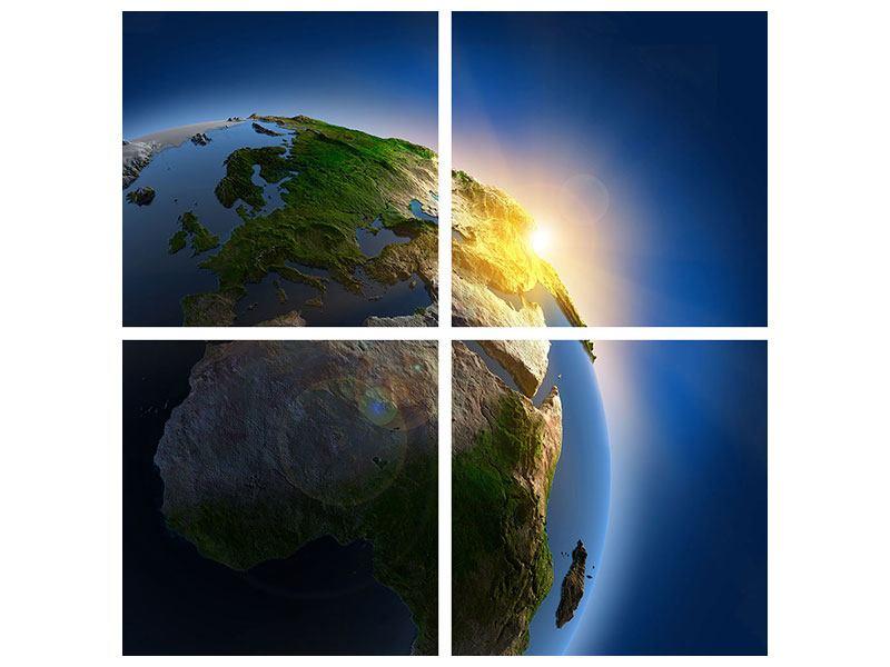Aluminiumbild 4-teilig Sonne und Erde
