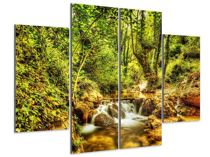 Aluminiumbild 4-teilig Wasserfall im Wald
