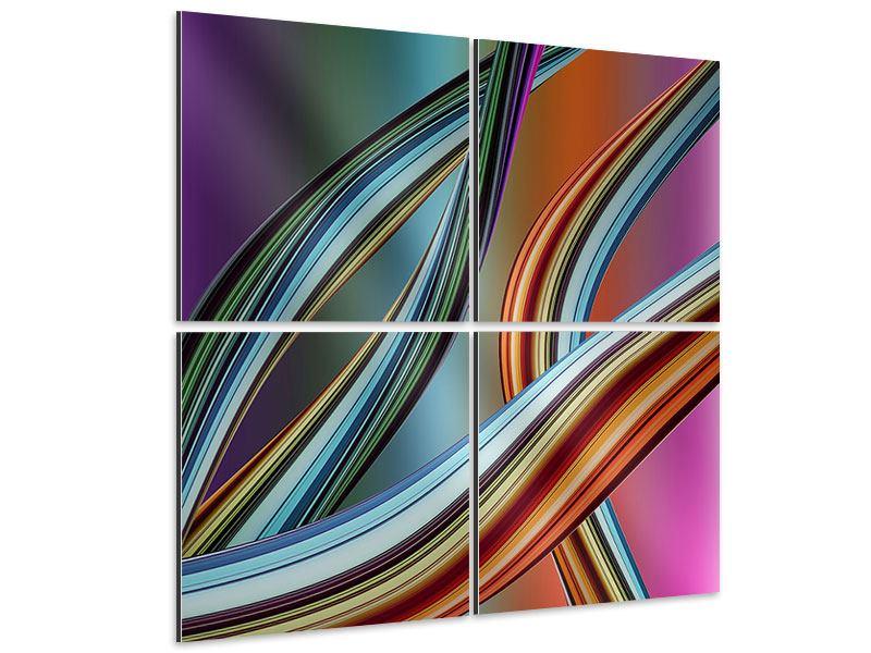 Aluminiumbild 4-teilig Wellengleich