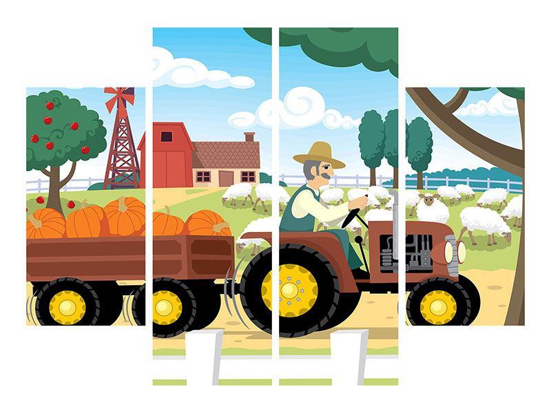 Aluminiumbild 4-teilig Bauernhof
