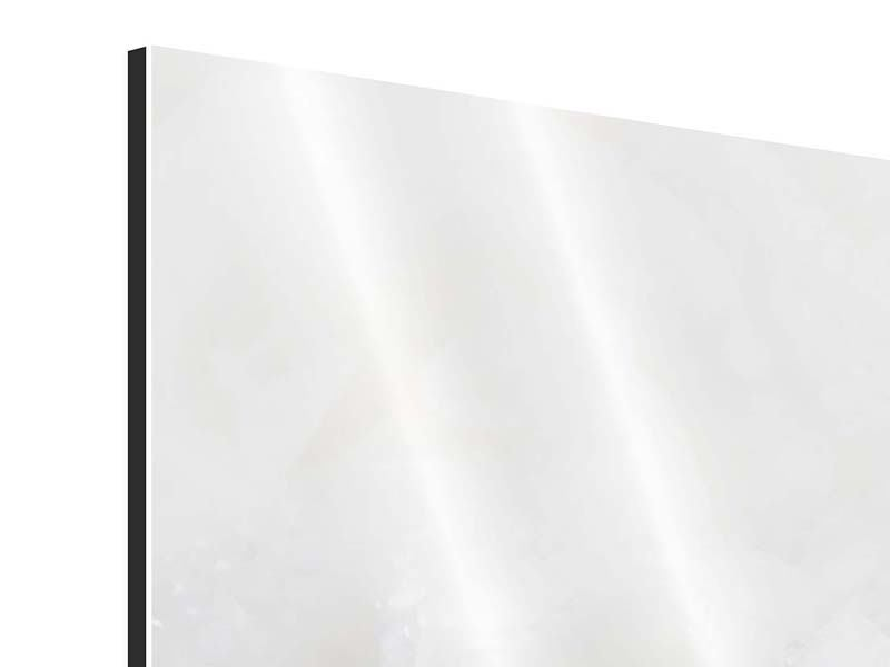 Aluminiumbild 4-teilig Weisse Rosen im Morgentau