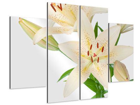 Aluminiumbild 4-teilig Weisser Lilienstrauch