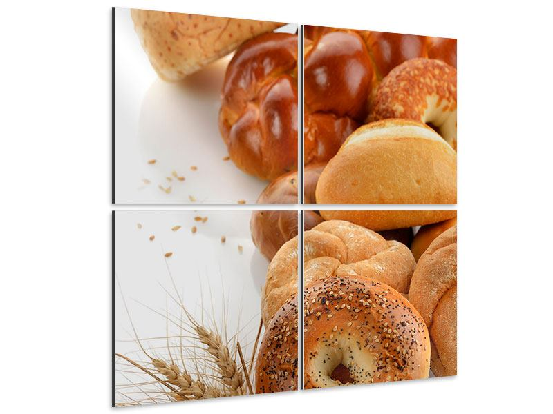 Aluminiumbild 4-teilig Frühstücksbrötchen